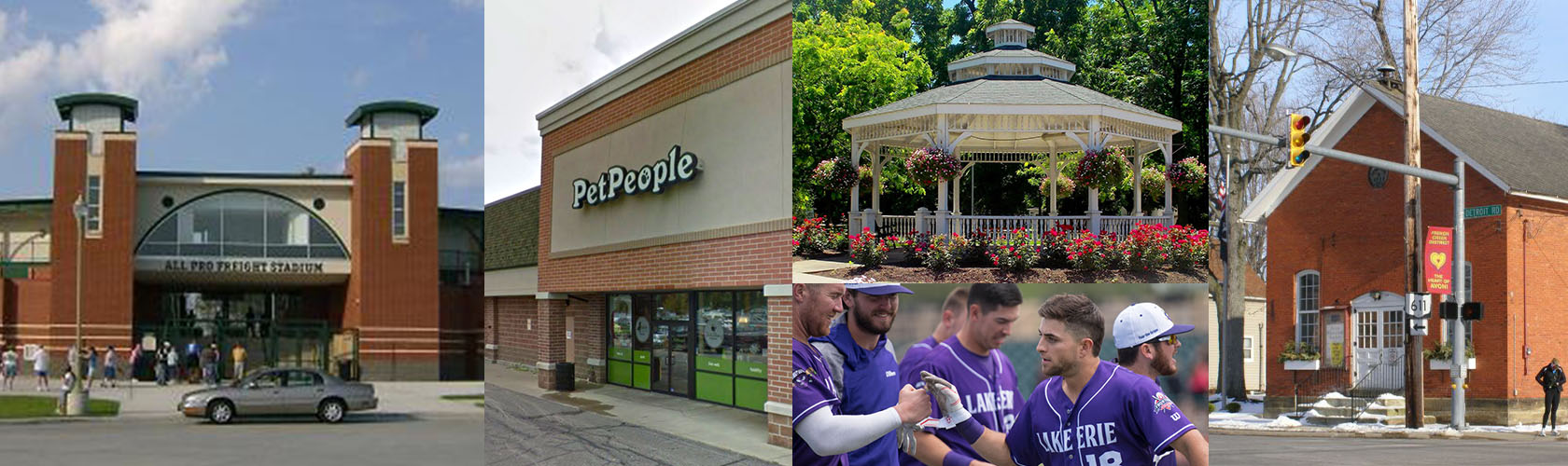 Collage of Pet People Store and town of Avon