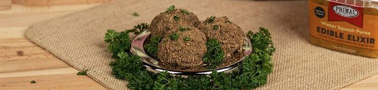 Turkey meatballs with edible elixir in the back